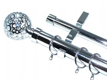 28/19mm Double Layer Chrome Curtain Pole & Rings Circle Ball 1.2m 1.5m 2.4m 3m